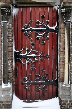 Door with pretty hinges in the snow