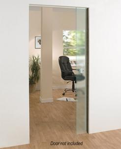 Architrave free pocket door for frameless glass